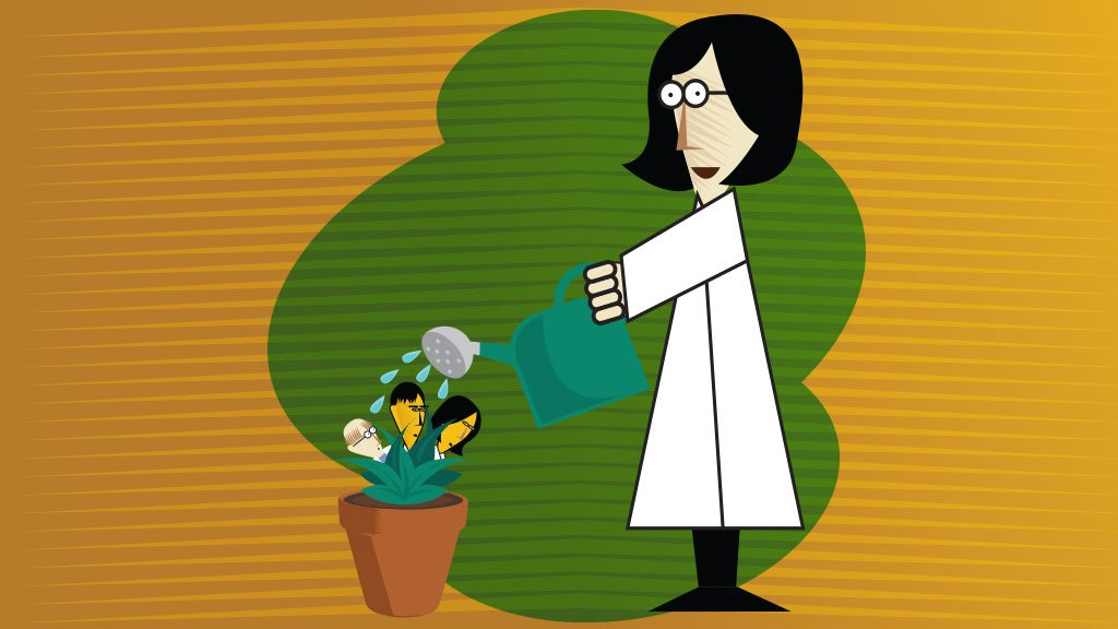 cartoon showing showing scalable compliance as a researcher watering a plant