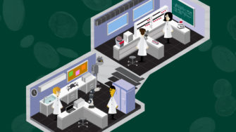 researchers in their labs, surrounded by indirect costs
