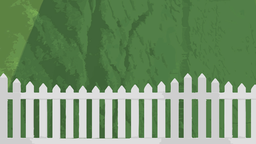 white picket fence with green background