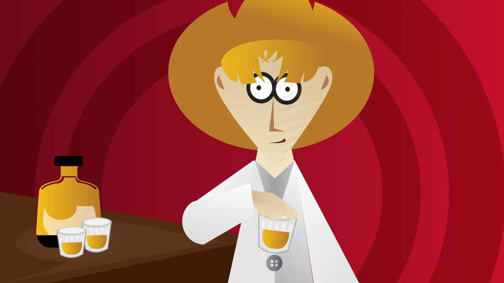 cartoon of researcher in cowboy hat at saloon