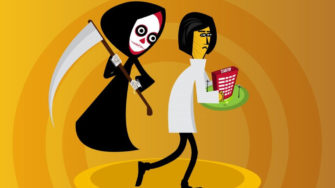 Cartoon of Grim Reaper following researcher, startup killers