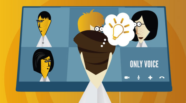 researcher placing a virtual call