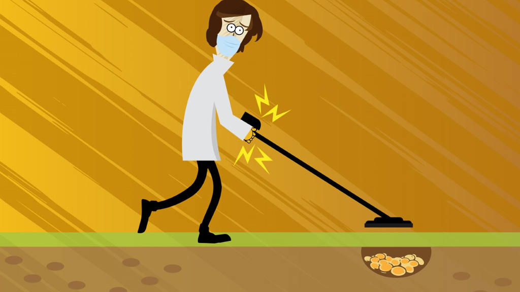 a research fniding funding with a metal detector
