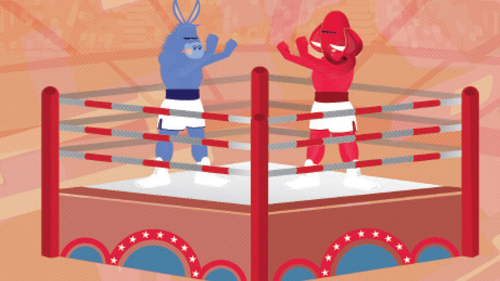 election illustration of donkey and elephant fighting in a boxing ring