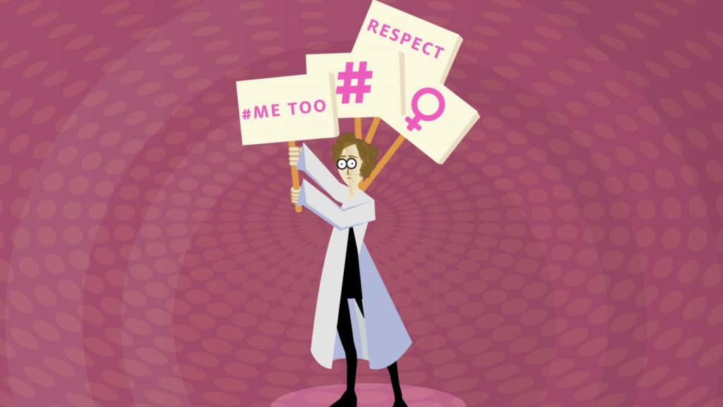 metoo protestor in lab coat
