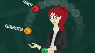 "professor entrepreneur juggling ""faculty"" and ""entrepreneur"" balls."